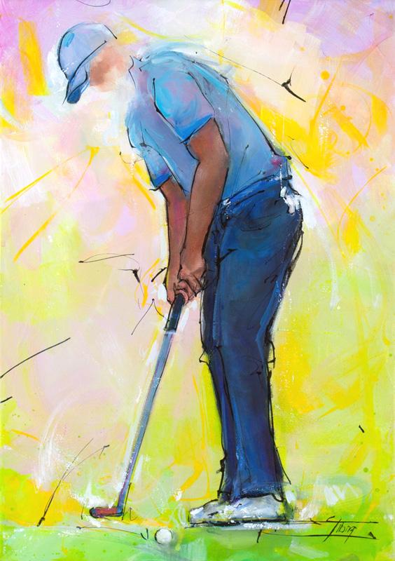 Art - peinture de sport - Golf - Putting