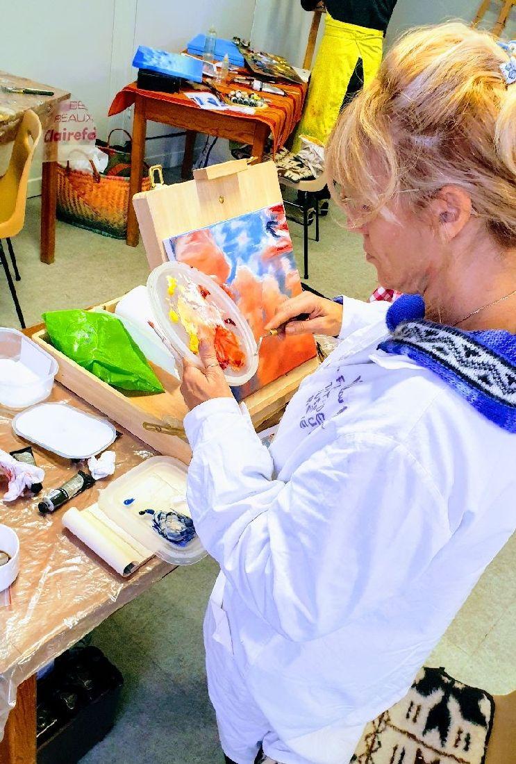 Stage peindre les nuages à l'huile - le stage technique - animé par Lucie LLONG, artiste peintre