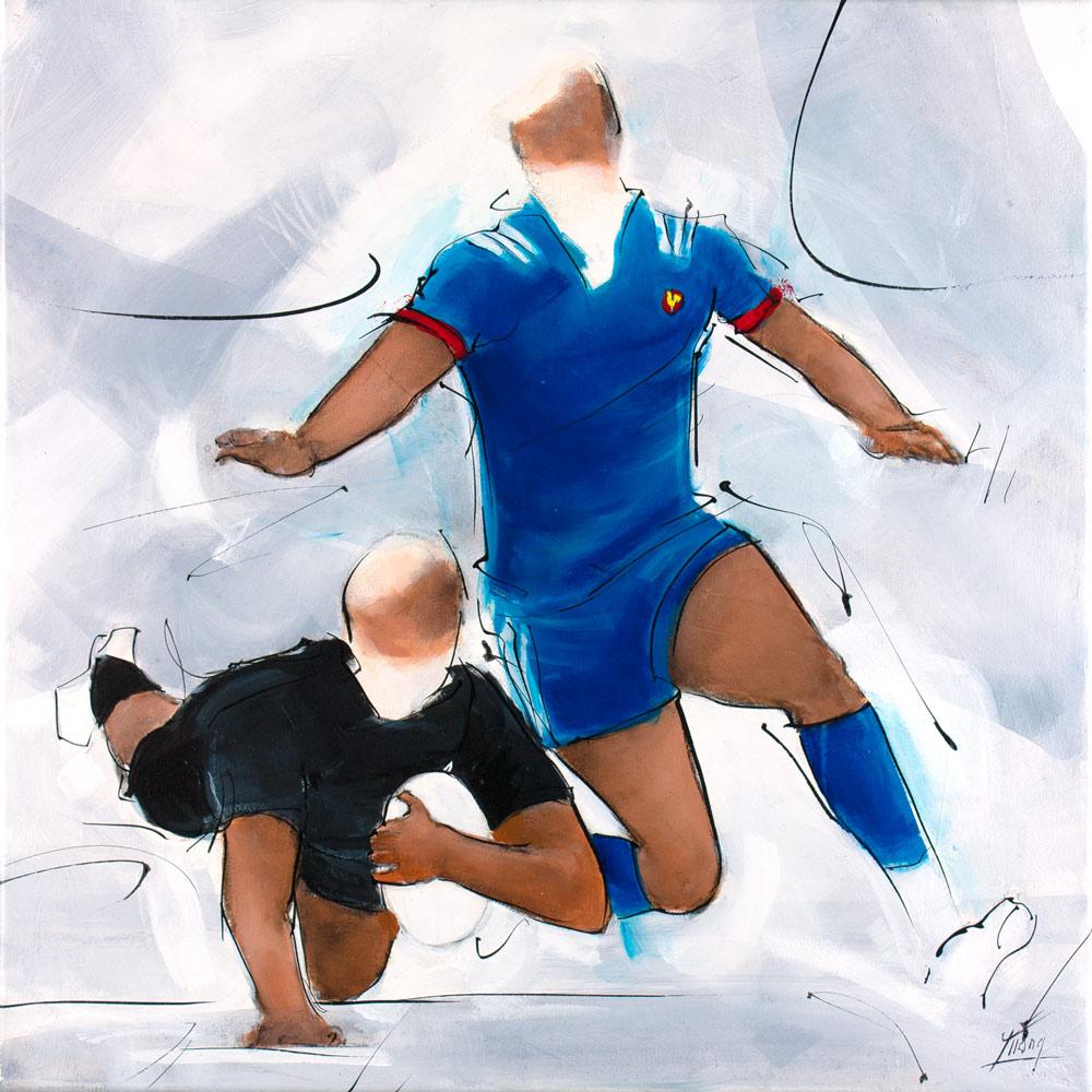 Peinture de rugby : essai des all blacks face au XV de France par Lucie LLONG, artiste peintre du mouvement et du sport