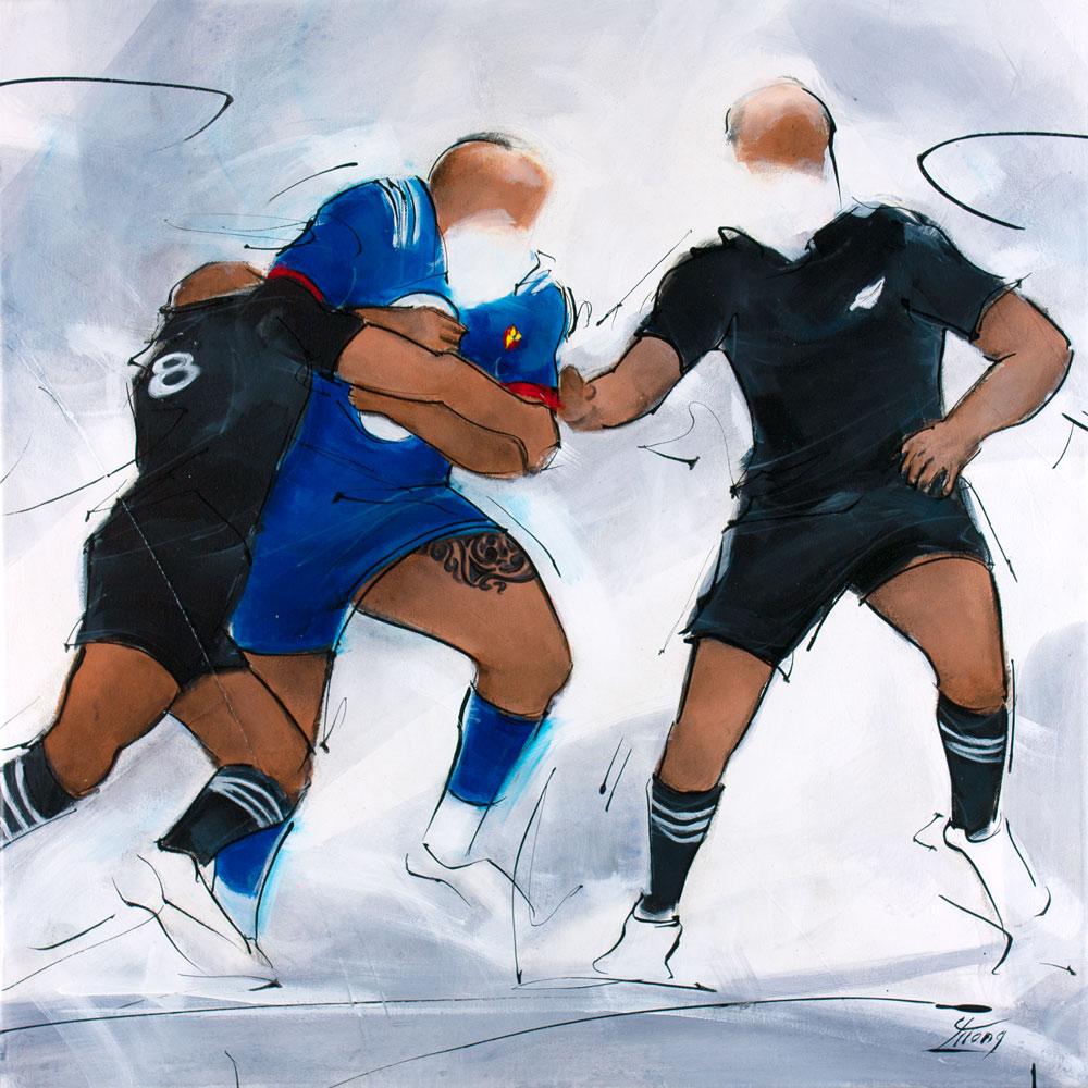 Peinture de rugby : les all blacks rencontrent le XV de France par Lucie LLONG, artiste peintre du mouvement et du sport