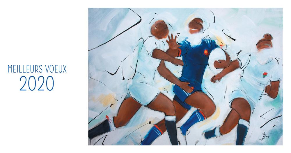 Fondation FERRASSE : La fondation présente ses vœux à tous ses généreux donateurs en peinture - Rugby féminin - Le crunch par Lucie LLONG